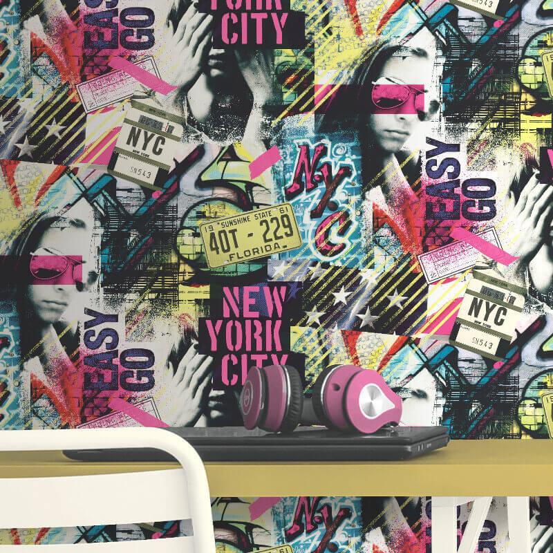 Muriva American Graffiti Multi Wallpaper - L06103