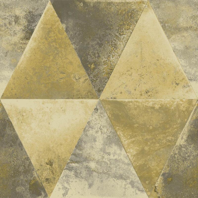 Muriva Ander Triangle Pattern Gold Foil Metallic Wallpaper - L62502