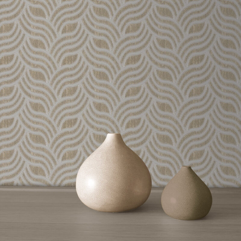 Muriva Art Deco Silver/Gold Metallic Wallpaper - 701372