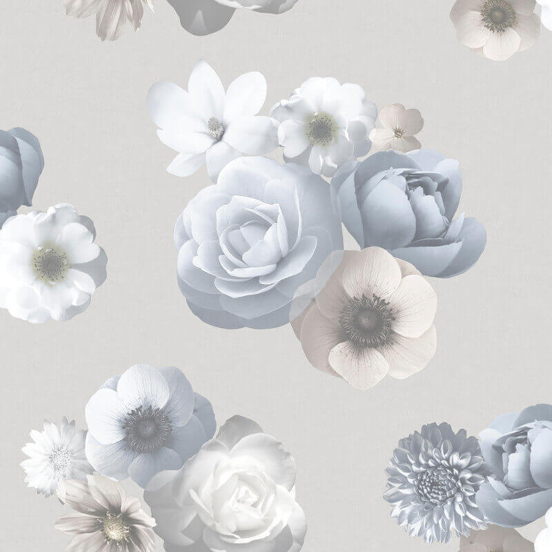 Muriva Aurora Floral Blue and Grey Wallpaper - 142504
