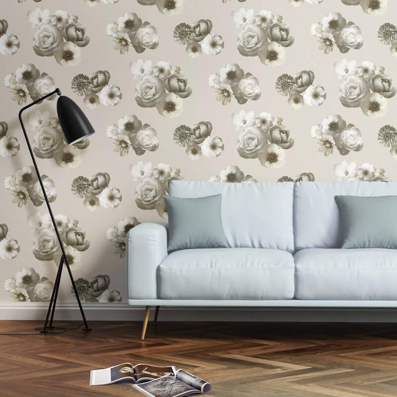 Muriva Aurora Floral Ivory Wallpaper - 142501