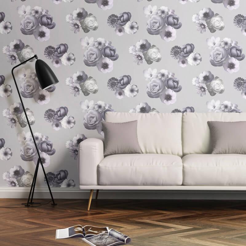 Muriva Aurora Floral Lilac Wallpaper - 142502