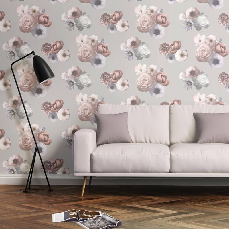 Muriva Aurora Floral Pink/Grey Wallpaper - 142503