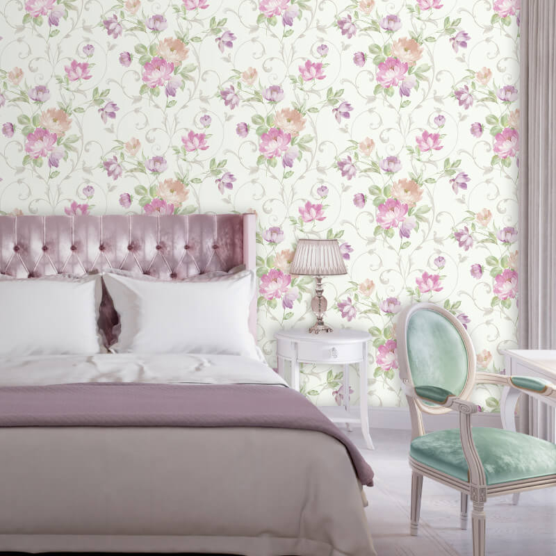 Muriva Avery Floral Textured Pink/Multi Wallpaper - L58103