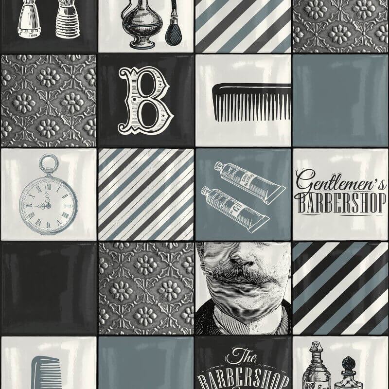 Muriva Barbershop Black/Grey/White Wallpaper - 578101
