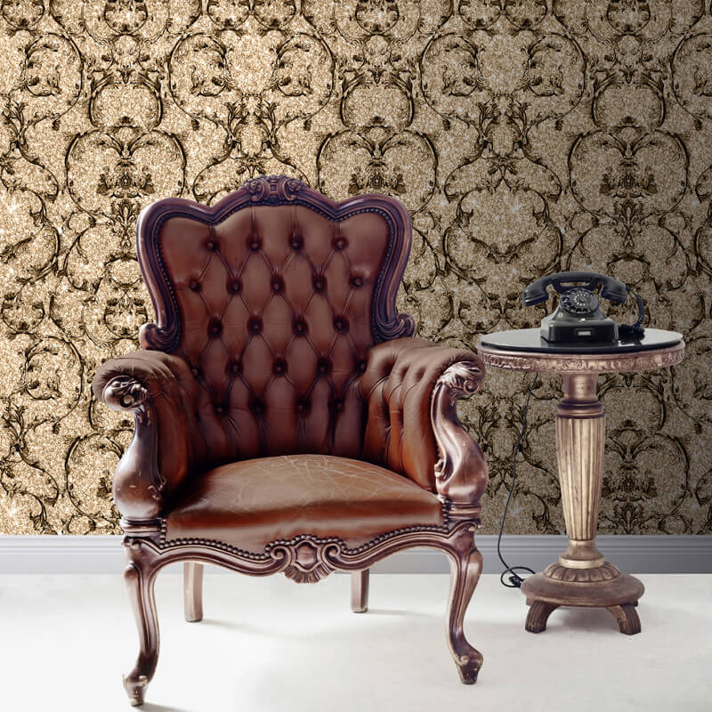 Muriva Baroque Scroll Glitter Wallpaper in Gold - 701345