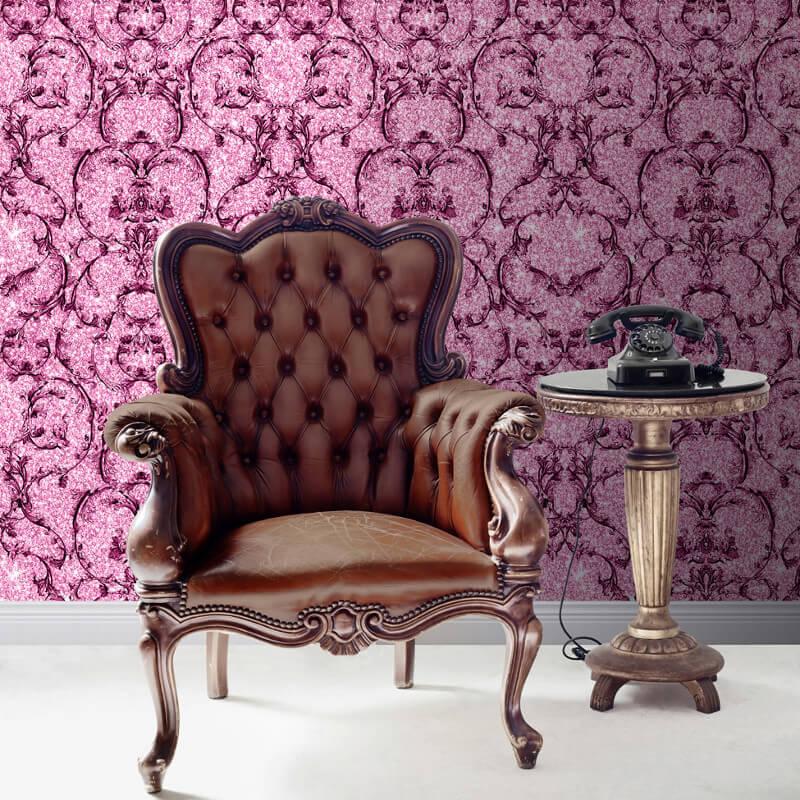 Muriva Baroque Scroll Glitter Wallpaper in Hot Pink - 701347