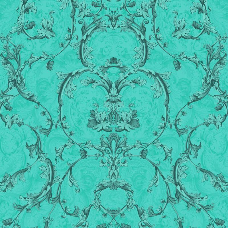Muriva Baroque Scroll Glitter Wallpaper in Hot Teal - 701348