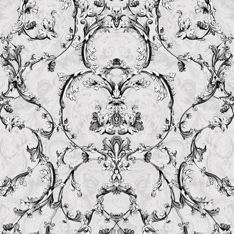 Muriva Baroque Scroll Glitter Wallpaper in Silver - 701344