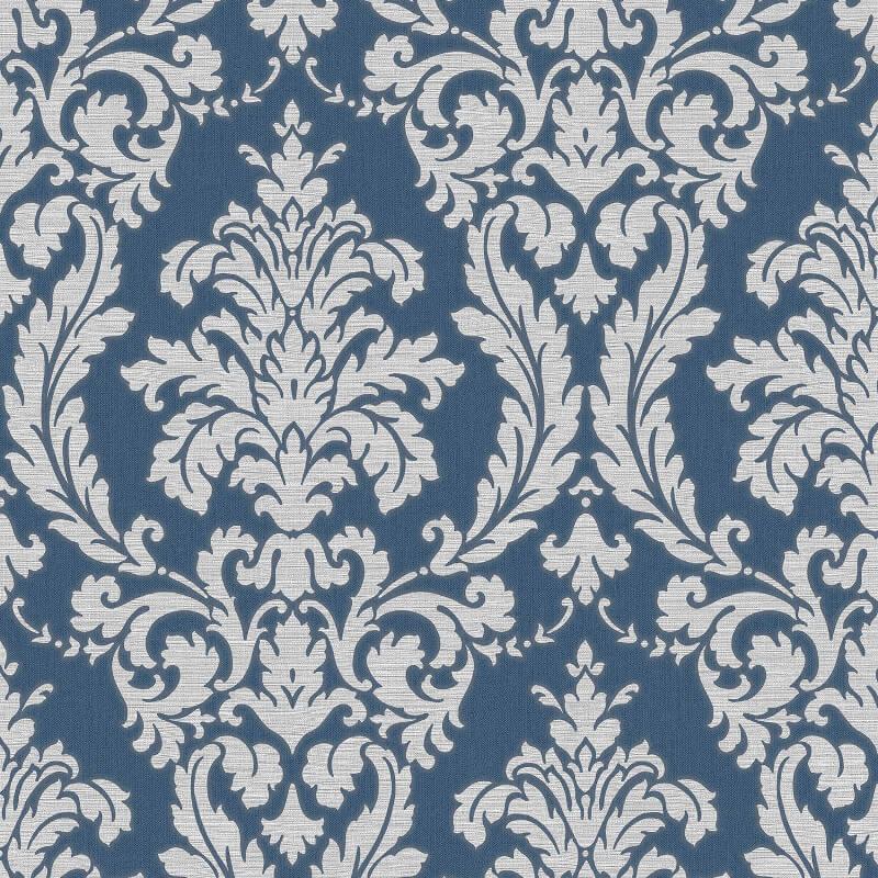 Muriva Beatrice Italian Damask Blue/Silver Metallic Wallpaper - 22911