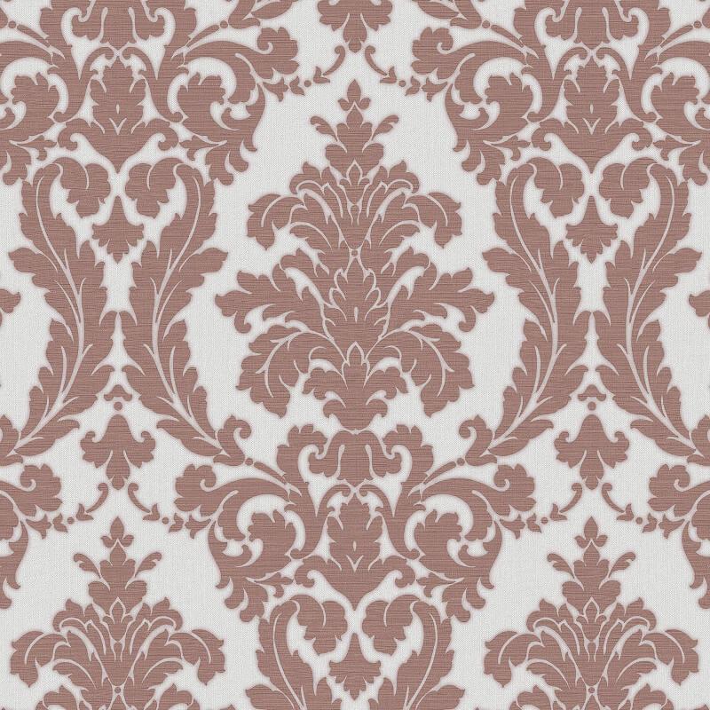 Muriva Beatrice Italian Damask Rose/Silver Metallic Wallpaper - 22913