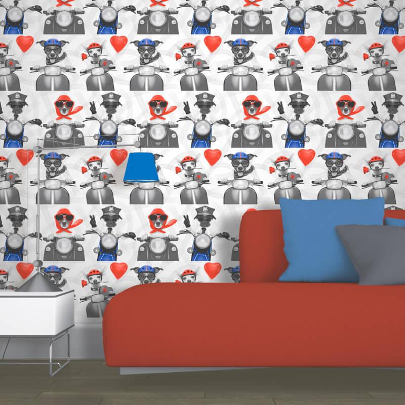 Muriva Biker Dogs Red White Blue Wallpaper