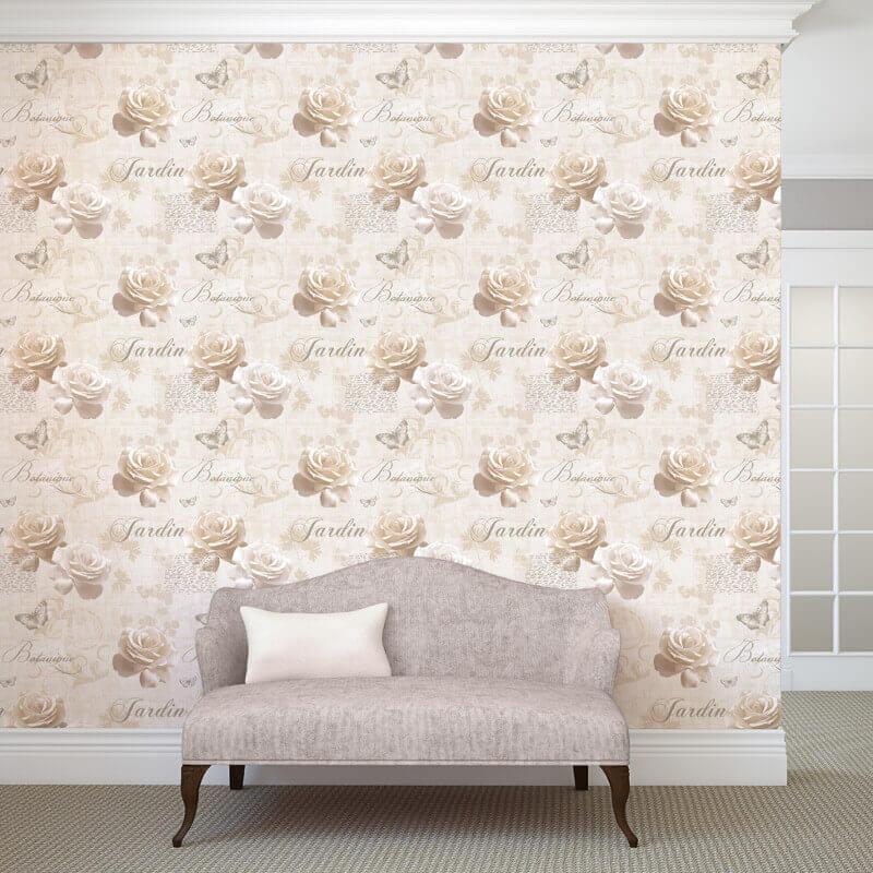Muriva Botanical Floral Beige Wallpaper - 127504