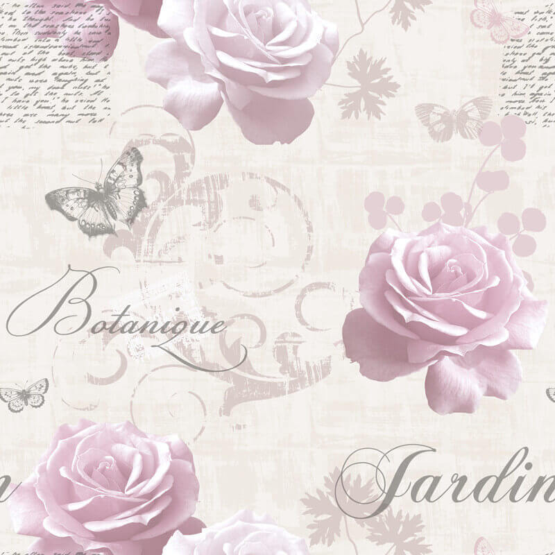 Muriva Botanical Floral Pink Wallpaper - 127502