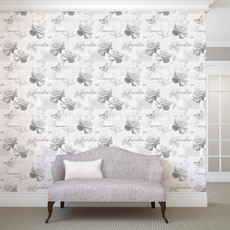 Muriva Botanical Floral Silver Wallpaper - 127501