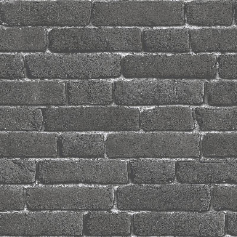 Muriva Brick 3D Effect Charcoal Wallpaper - J30109