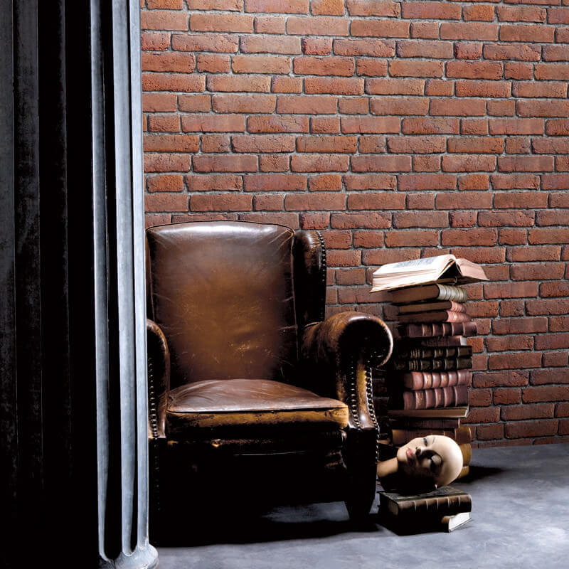 Muriva Brick 3D Effect Wallpaper in Red - J30108