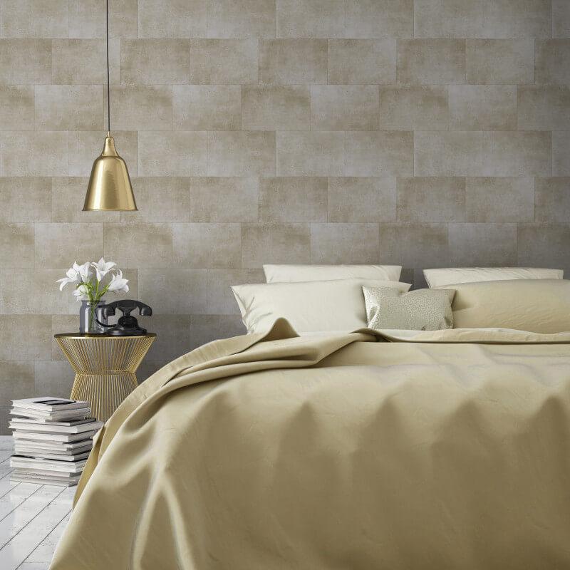 Muriva Metallic Brick Gold Wallpaper - 141201