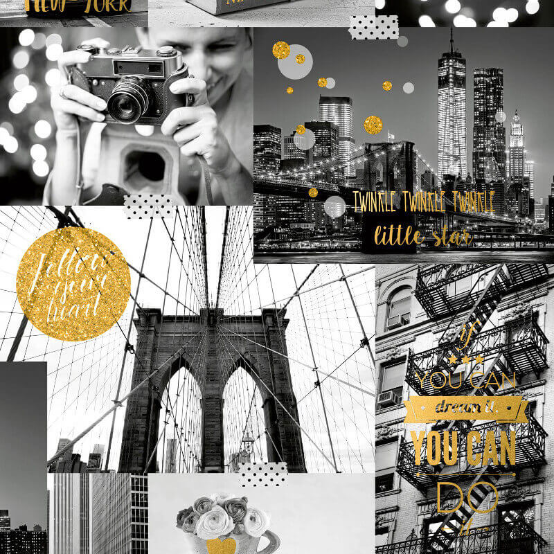 Muriva Bright Lights Big City Gold Glitter Wallpaper - L31002