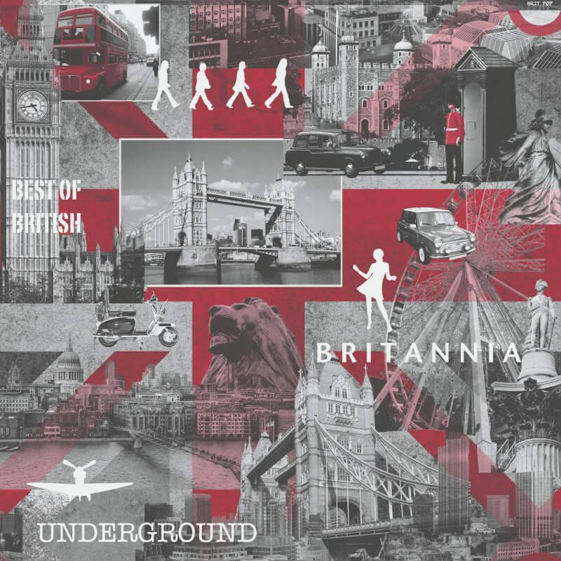 Muriva Britannia Black, White & Red Wallpaper - 102509