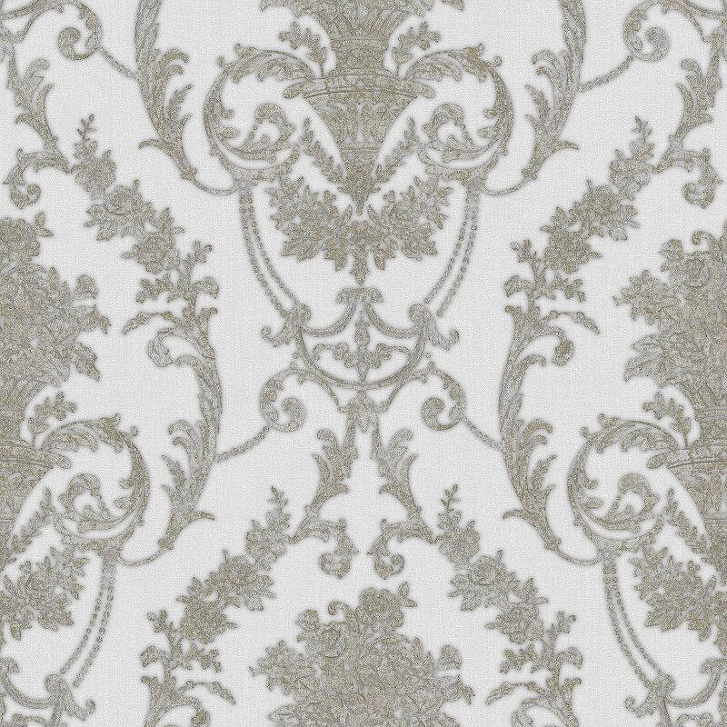 Muriva Bronte Italian Damask Silver/Gold Metallic Wallpaper - 22901