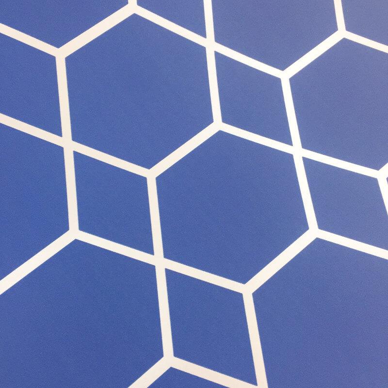 Muriva Casca Geometric Blue/Silver Metallic Wallpaper - 147507