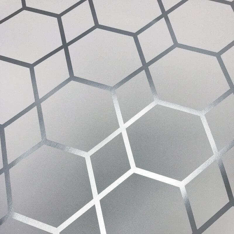 Muriva Casca Geometric Silver Metallic Wallpaper - 147501