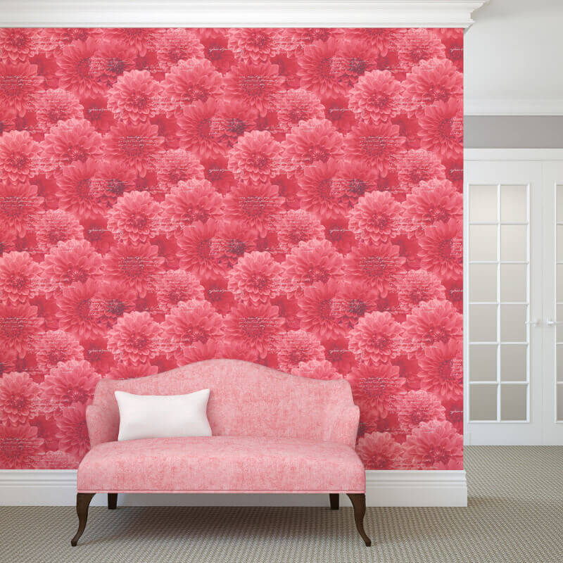 Muriva Chrysanth Wallpaper in Red - 128502