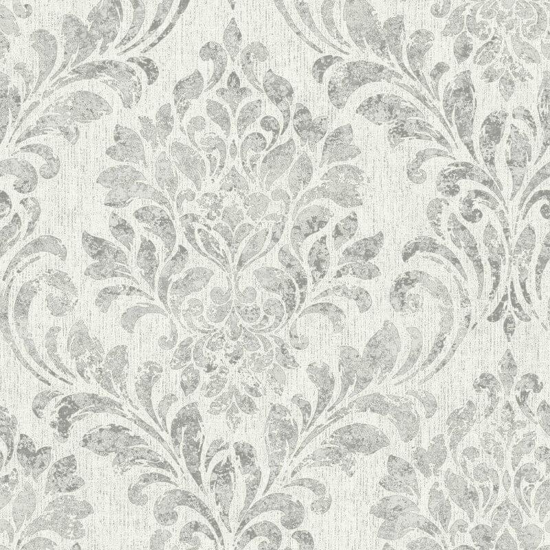 Muriva Clara Damask Textured Grey Metallic Wallpaper - L37209