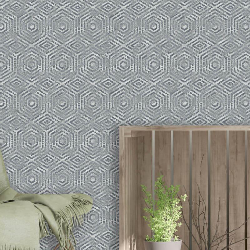 Muriva Cohen Geometric Grey/Silver Metallic Wallpaper - L60609