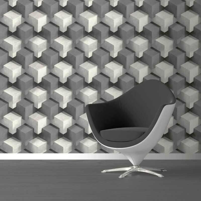 Muriva Cubum Geo Grey Wallpaper - L201-19