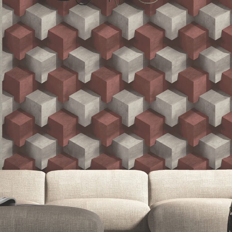 Muriva Cubum Geo Red Wallpaper - L201-10