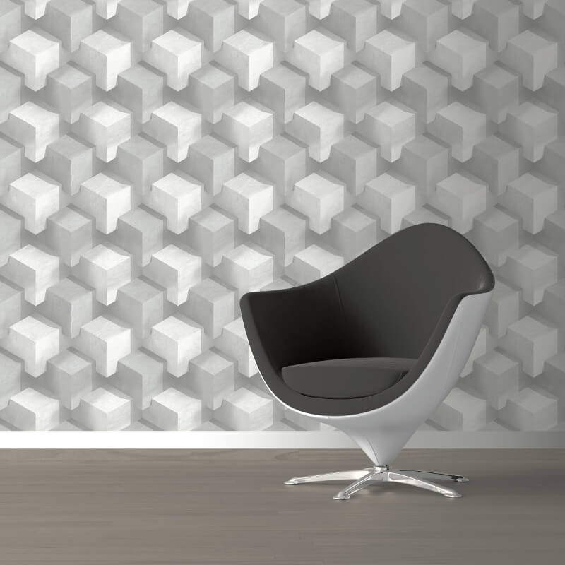 Muriva Cubum Geo Silver Wallpaper - L201-09