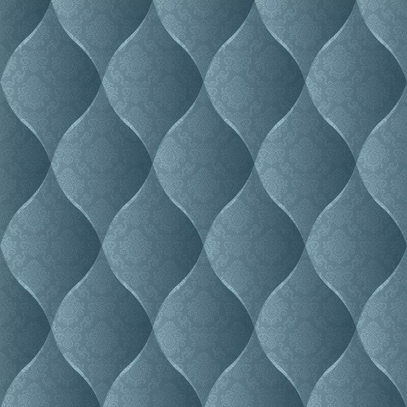 Muriva Damask Padded Effect Wallpaper in Aqua - J95801