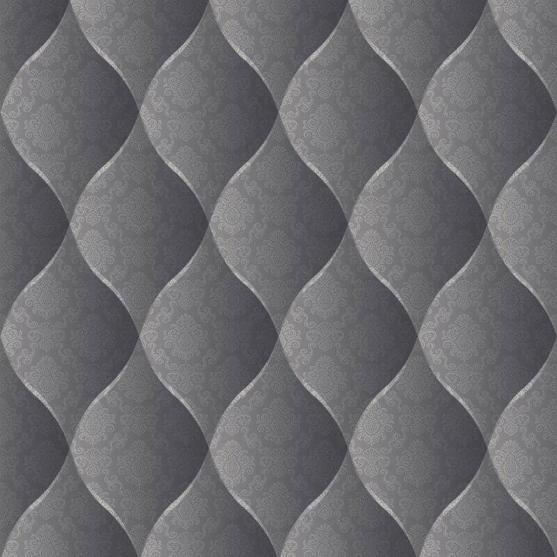 Muriva Damask Padded Effect Wallpaper in Black - J95819