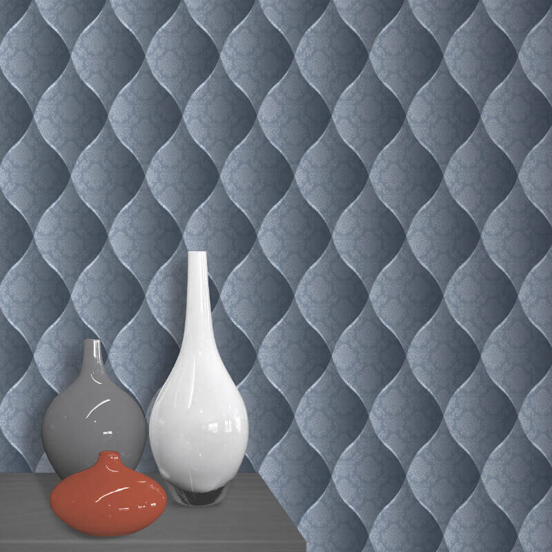Muriva Damask Padded Effect Wallpaper in Blue - J95829