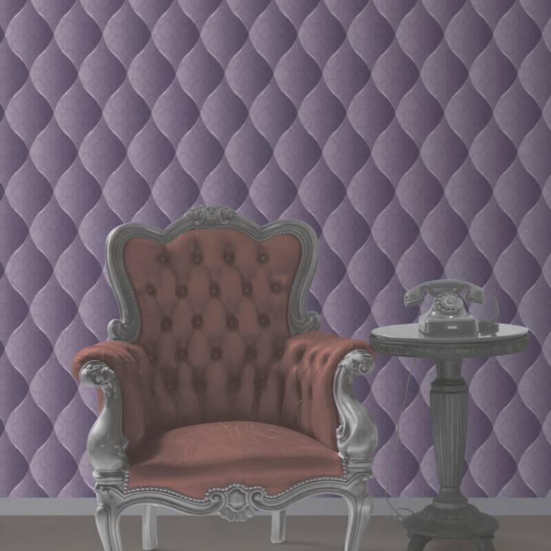 Muriva Damask Padded Effect Wallpaper in Purple - J95806