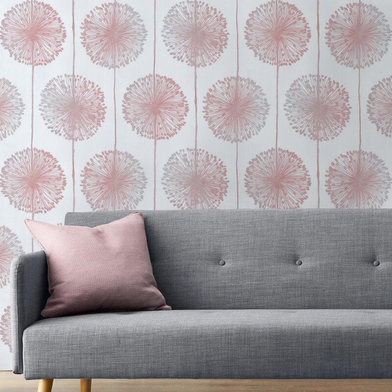 Muriva Dandelion Floral Raspberry Wallpaper - 150501