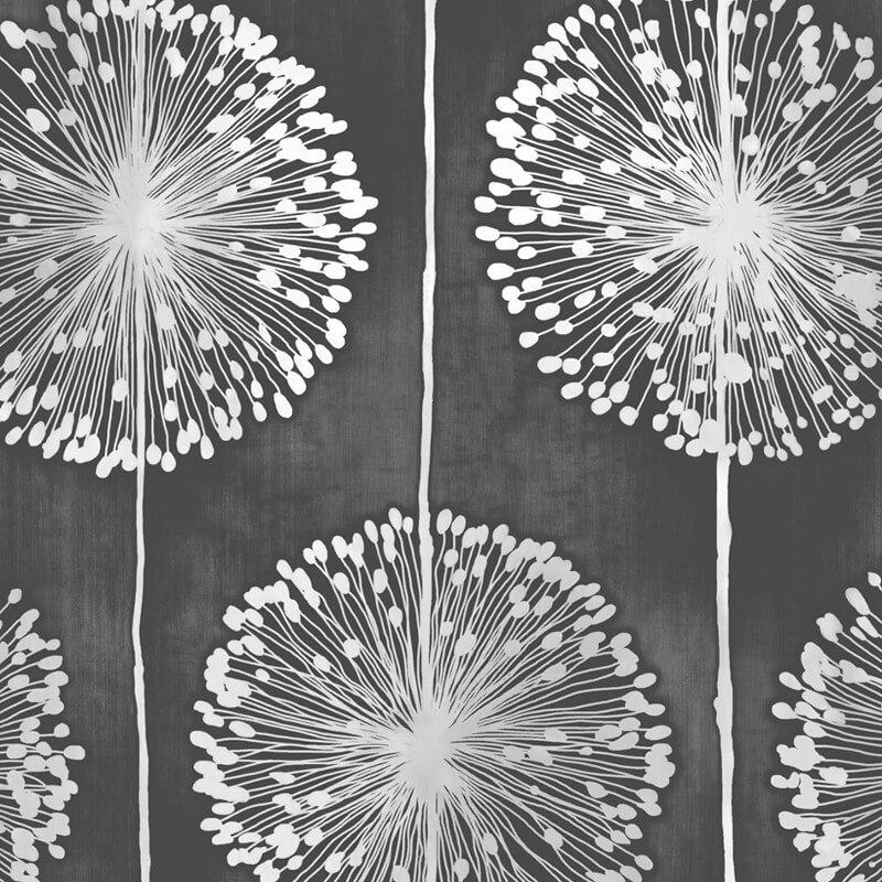 Muriva Dandelion Floral Black Wallpaper  - J04219