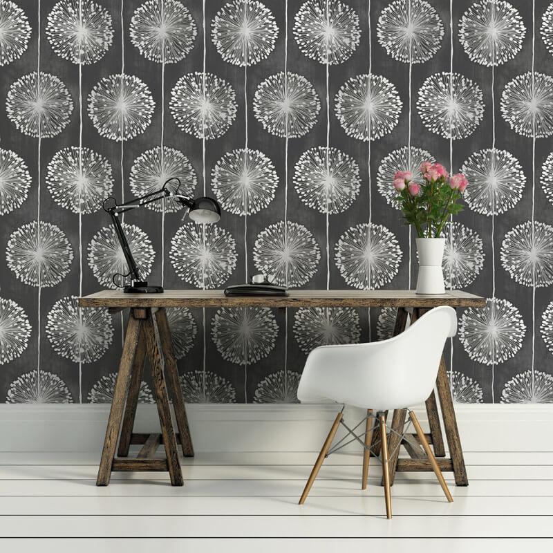Muriva Dandelion Floral Black Wallpaper
