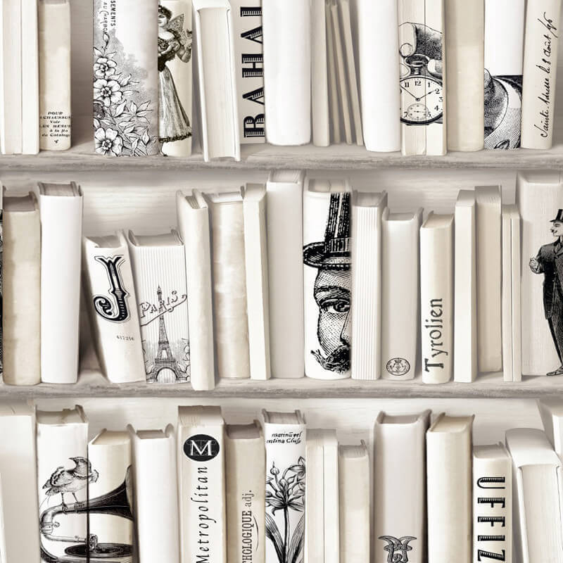 muriva encyclopaedia bookcase cream wallpaper 572217. Black Bedroom Furniture Sets. Home Design Ideas