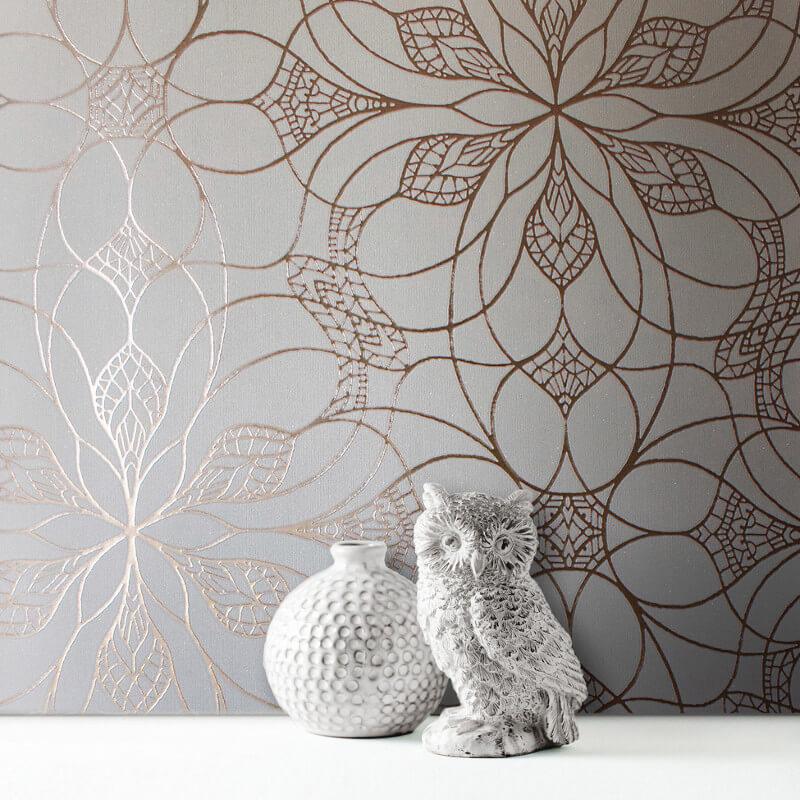 Muriva Eve Floral Cream/Rose Metallic Wallpaper - 701470