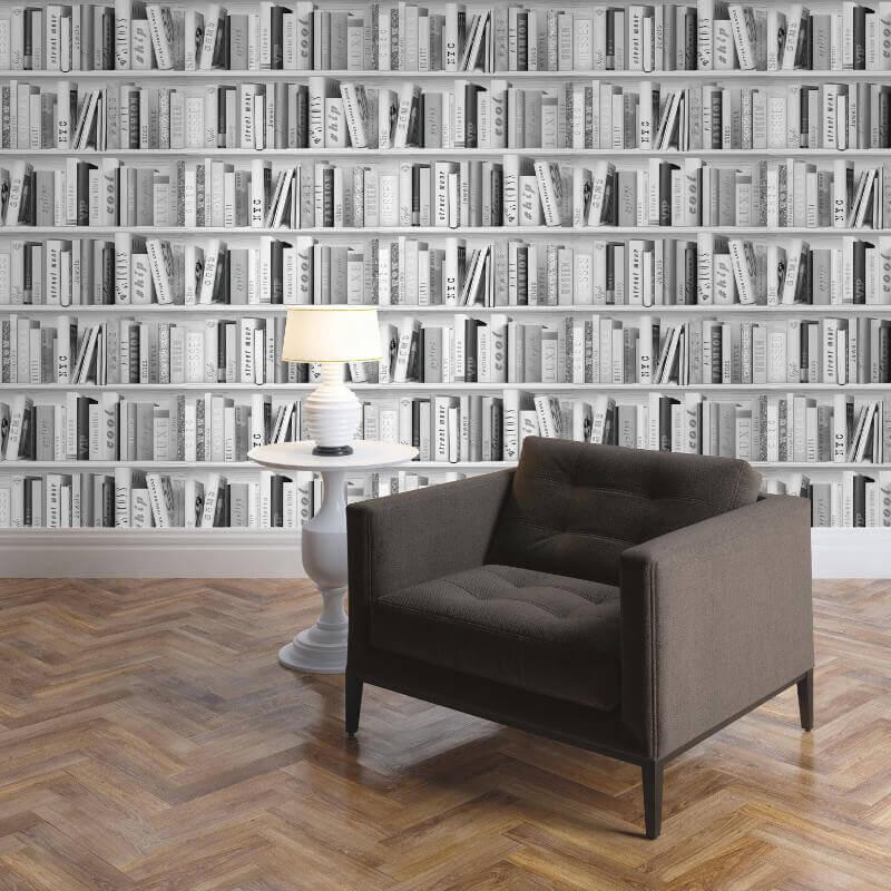 Muriva Fashion Library Glitter Wallpaper in Silver - 139502 (Library)