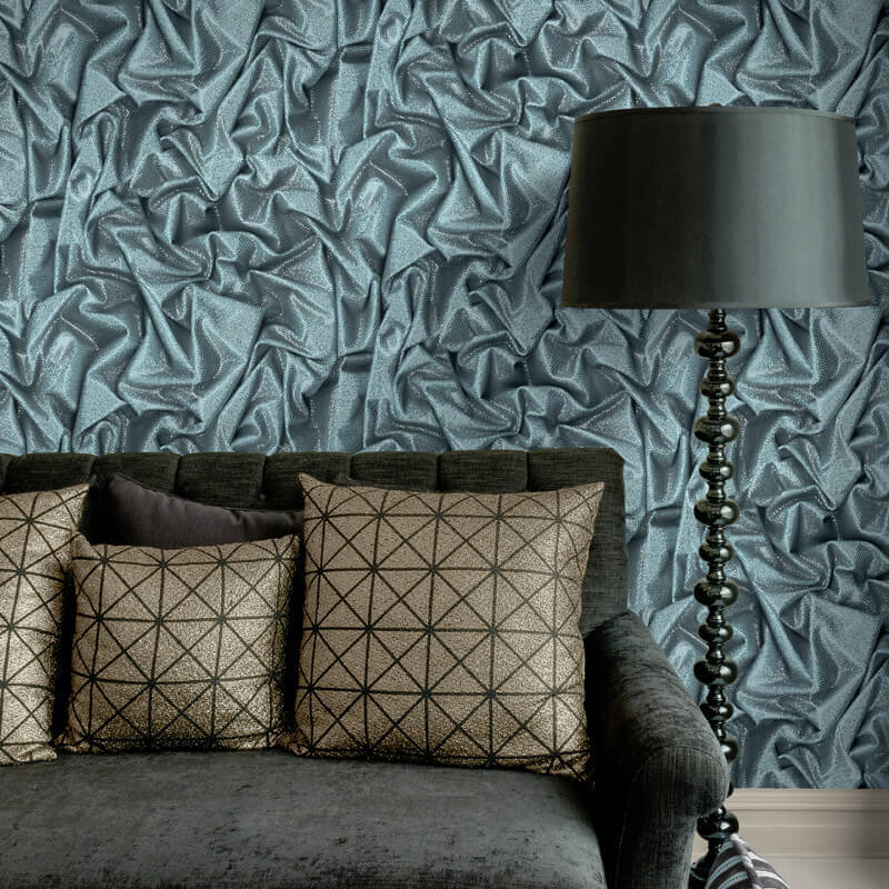 Muriva Faux Crushed Satin Blue Glitter Wallpaper - L14201