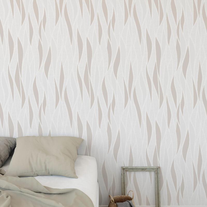 Muriva Freya Wave White/Beige Glitter Wallpaper - 149106