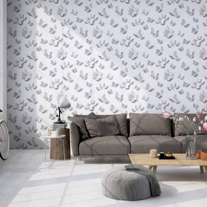 Muriva Gallery Butterflies White/Grey Glitter Wallpaper - J92709