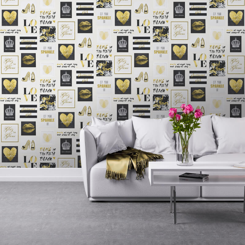 Muriva Glitz and Glam Gold/Silver Wallpaper - 102556