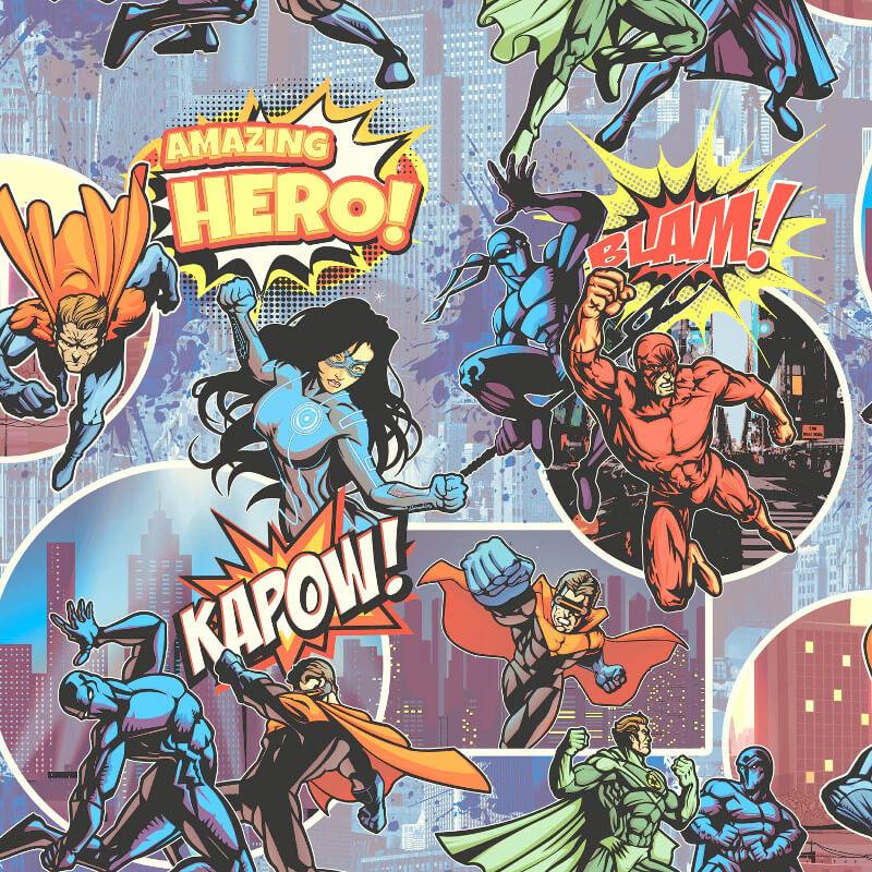 Muriva Heroes Multi Wallpaper - L31501