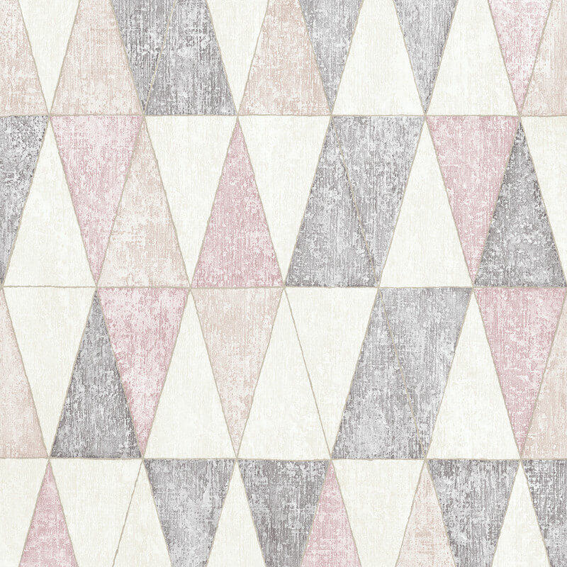Muriva Jarvis Geometric Pink/Grey Wallpaper - 92703 / L43103