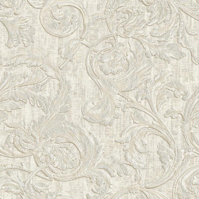 Muriva Kastra Scroll White Wallpaper - 20502